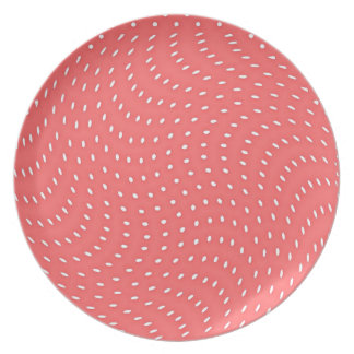 Poppy Red And White Polka Dots Pattern Party Plates