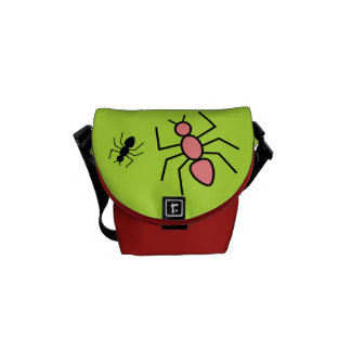 Poppy Red & Black Vector Ants (Green Background) Courier Bag