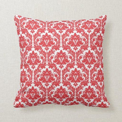 Poppy Red Damask pattern Throw Pillow