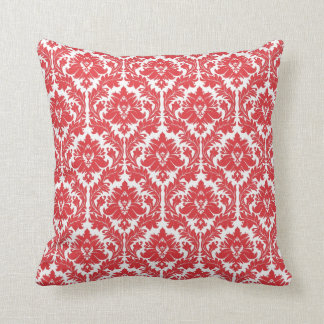 Poppy Red Damask pattern Throw Pillow