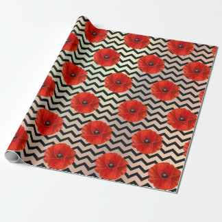 Poppy Red Flower Black White Glam Chevron Copper Wrapping Paper
