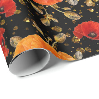 Poppy Red Flower Glam Black Gold Confetti Wrapping Paper