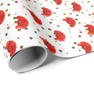 Poppy Red Flower White Gold Confetti Glitter Wrapping Paper
