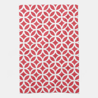 Poppy Red Geometric Kitchen Towels