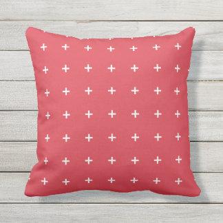 Poppy Red Outdoor Pillows - Cross Pattern
