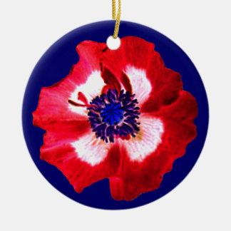 Poppy Red White Blue ornament blue