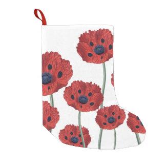 Poppy red white small christmas stocking