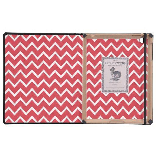 Poppy Red Zig Zag Chevron Covers For iPad