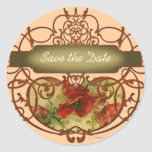 Poppy Scroll Banner Save the Date Tag Stickers