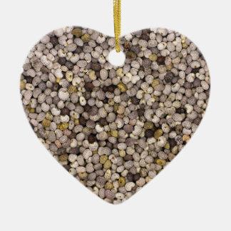 Poppy seed ceramic heart decoration