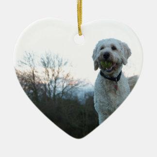 Poppy the labradoodle dog ceramic ornament