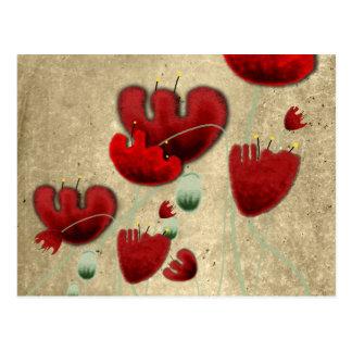 Poppy victorian old romantic handpainted postcard