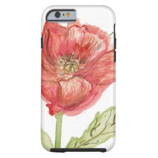 Poppy Watercolor Tough iPhone 6 Case