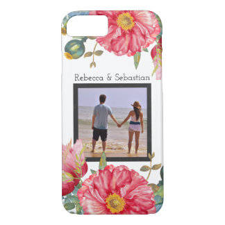 Poppy Watercolor Flowers Personalized Photo iPhone 8/7 Case