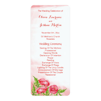 Poppy Watercolor Wedding Programs
