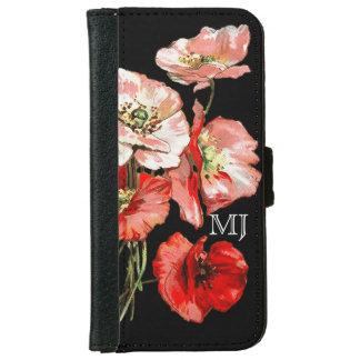 Poppy wild flower monogram iPhone 6 wallet case