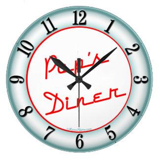 Pops Diner Retro Kitchen Wall Clock