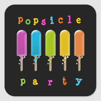 popsicle party square sticker