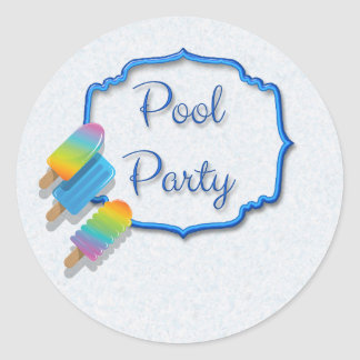 Popsicle Pool Party Round Sticker
