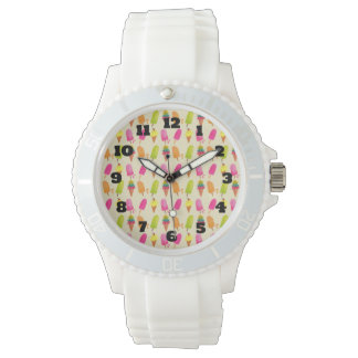 Popsicles and Ice Cream Colorful Summer Pattern Watch