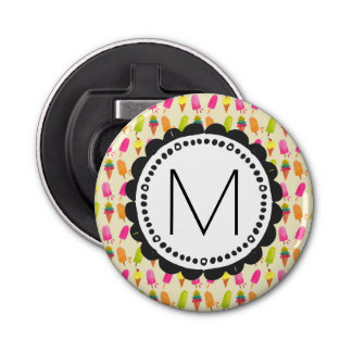 Popsicles and Ice Cream Personalized Monogram Bottle Opener