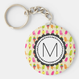Popsicles and Ice Cream Personalized Monogram Key Ring