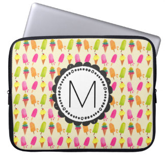 Popsicles and Ice Cream Personalized Monogram Laptop Computer Sleeve