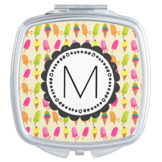 Popsicles and Ice Cream Personalized Monogram Makeup Mirror