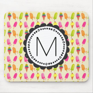 Popsicles and Ice Cream Personalized Monogram Mouse Pad