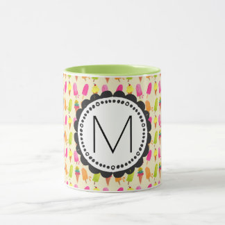 Popsicles and Ice Cream Personalized Monogram Mug