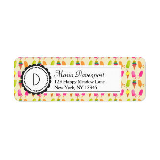 Popsicles and Ice Cream Personalized Monogram Return Address Label