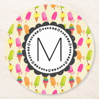 Popsicles and Ice Cream Personalized Monogram Round Paper Coaster