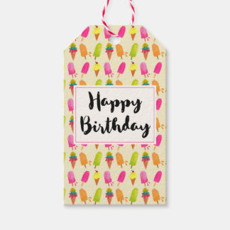 Popsicles and Ice Cream Summer Pattern Birthday Gift Tags