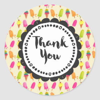 Popsicles and Ice Cream  Thank You Classic Round Sticker