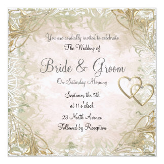 Popular and Elegant  old Gold  Wedding Invitation
