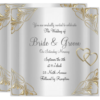 Popular and Elegant  Silver  Wedding Invitation