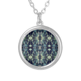 Popular Blue Teal Colors Tribal pattern Silver Plated Necklace