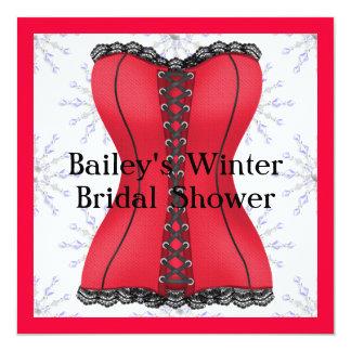 POPULAR RED & BLACK Elegant WINTER Bridal Shower I 13 Cm X 13 Cm Square Invitation Card