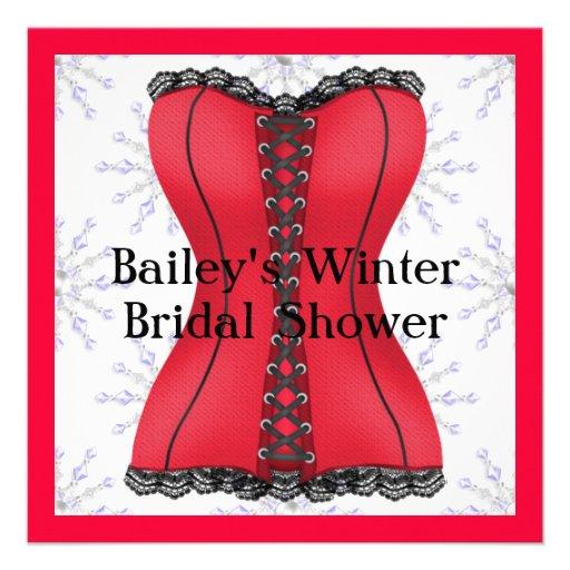 POPULAR RED & BLACK Elegant WINTER Bridal Shower I Invitation