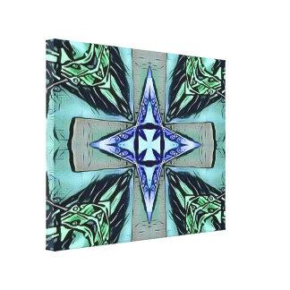Popular Teal Purple Modern Star Cross Pattern Canvas Print