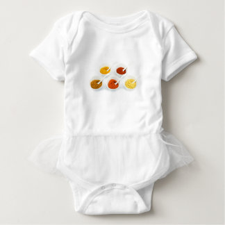 Porcelain bowls and spoons with various spices baby bodysuit