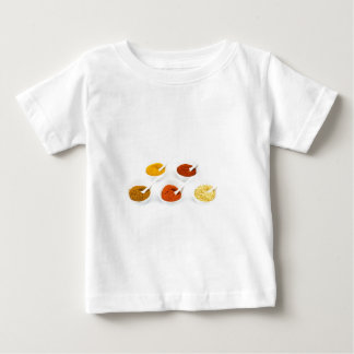 Porcelain bowls and spoons with various spices baby T-Shirt
