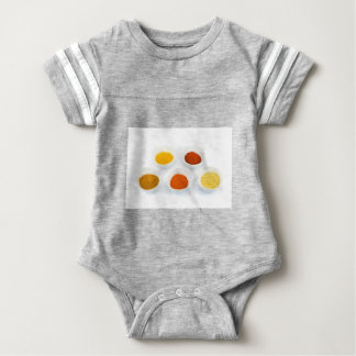 Porcelain bowls with several seasoning spices baby bodysuit