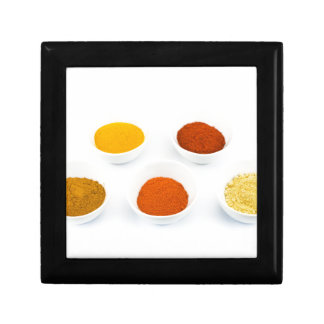 Porcelain bowls with several seasoning spices gift box