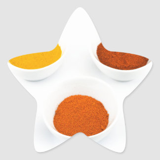 Porcelain bowls with several seasoning spices star sticker