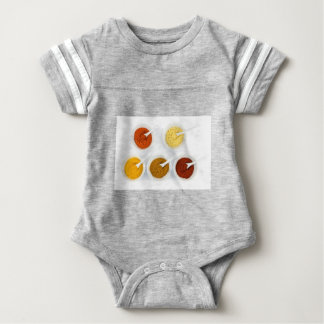 Porcelain bowls with various herbal spices baby bodysuit