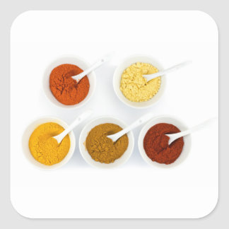 Porcelain bowls with various herbal spices square sticker