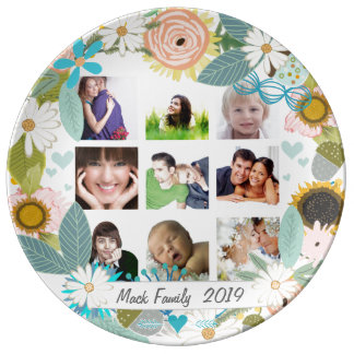 Porcelain Family Photos Floral Garland Plate