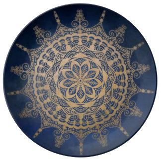 Porcelain Plate Blue Golden Design