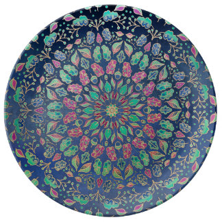 Porcelain Plate Multicolor abstract Leaves Design